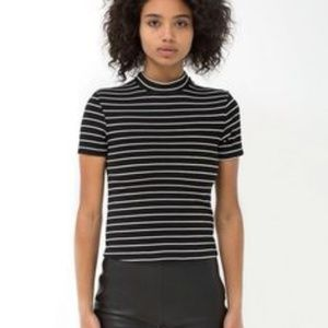 American Apparel Mock-Neck Striped Shirt